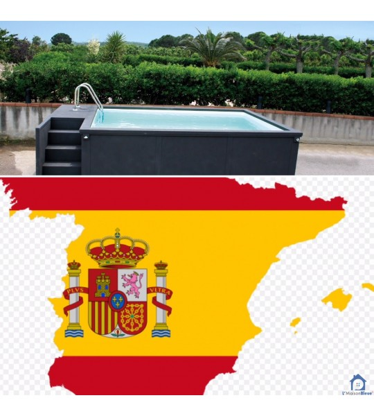 Espagne sans pose piscine container 5M25x2M55x1M26