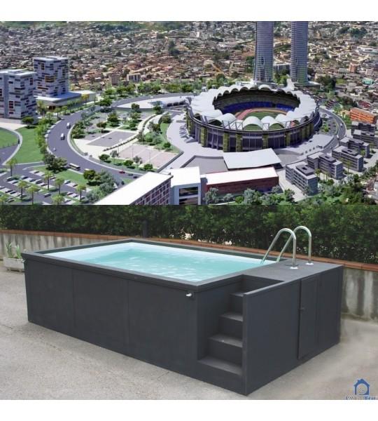 Gabon container piscine 5M25x2M55x1M26 Afrique centrale