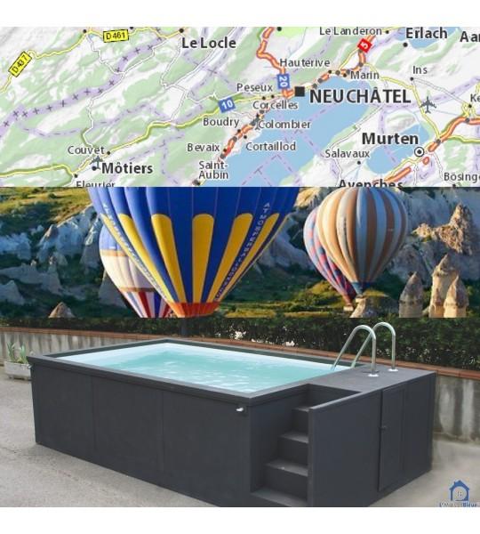 Boudry canton de Fribourg container piscine mobile 5M25x2M55x1M26