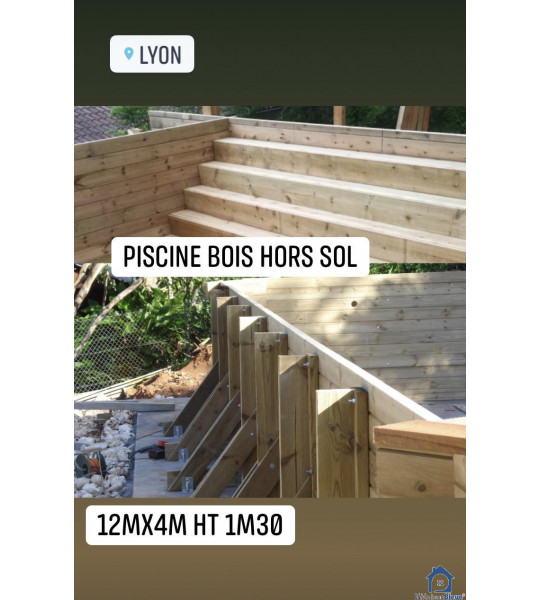 Kit piscine en bois 12Mx4Mx1M30 rectangulaire