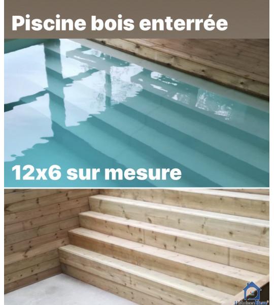 Piscine en bois 12Mx6Mx1M43 rectangulaire Brindas (69126)