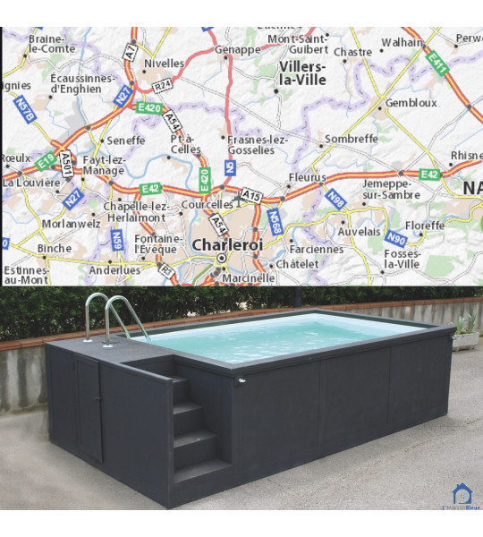 Container piscine 5M25x2M55x1M26 Villers-Perwin en Belgique