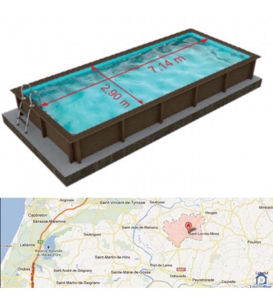 Kit piscine béton 7M50x3M24x1M40 (St lon les mines 40300)
