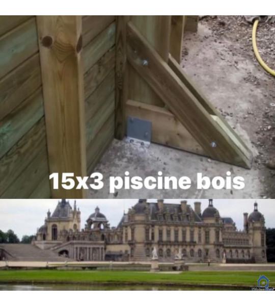 Kit piscine en bois 12Mx6Mx1M43 rectangulaire Lachelle (60190)