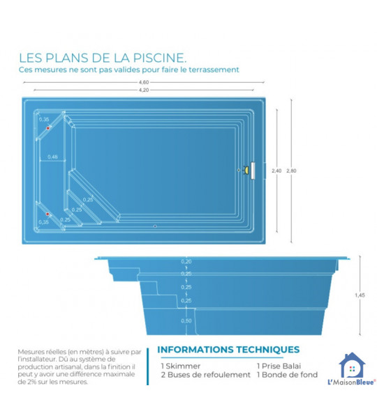 Mini piscine coque de 10M2 _ 4M20x2M40x1M45