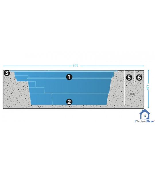Mini piscine coque de 10M2 _ 4M20x2M40x1M45