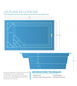 Sud de la France Mini piscine coque de 10M2 _ 4M20x2M40x1M45