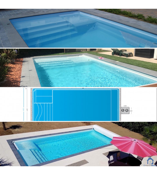Piscine coque rectangulaire 12350 Lanuejouls 8Mx4Mx1M50