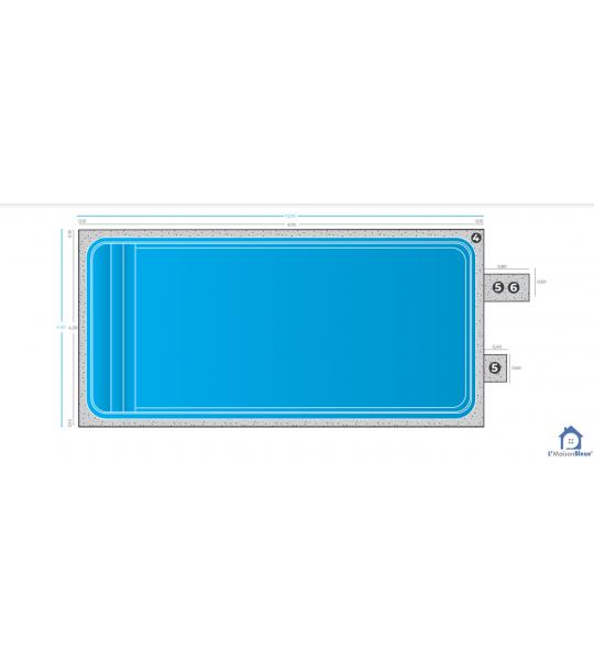 Piscine rectangulaire 9M70x4M20x1M50 (Feyzin 69320)