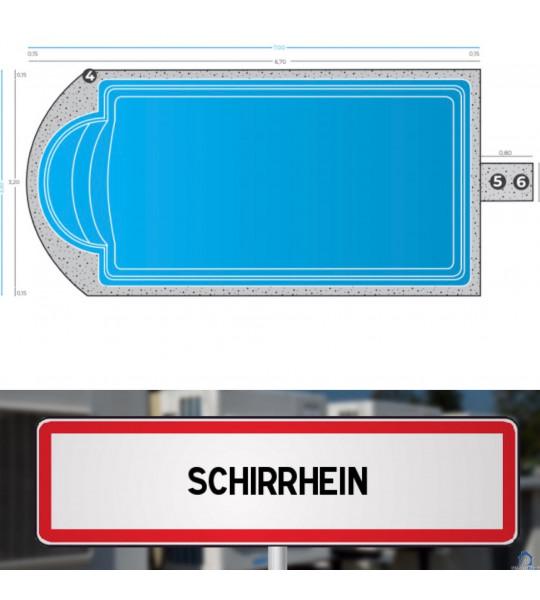 67240 - Piscine Coque 6M70x3M20x1M50 livrée à Schirrhein
