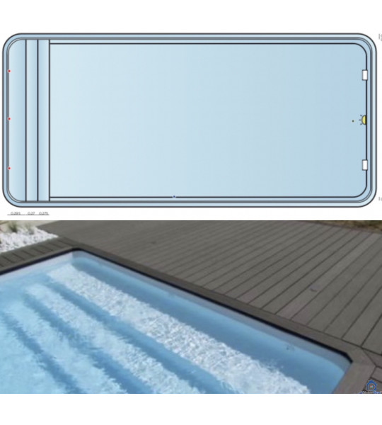 Piscine Coque rectangulaire 9M70x4M20x1M50 - Romain (25680)
