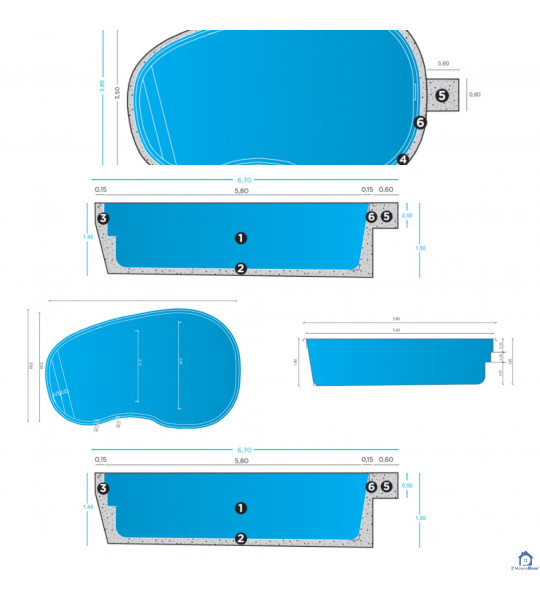 Coque piscine 5M80x3M50x1M50 forme ovale