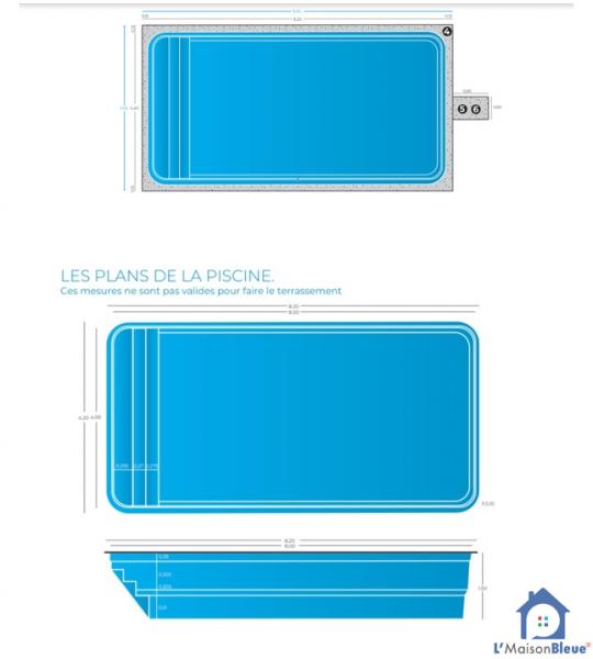 (58800) 8Mx4Mx1M50 piscine coque rectangulaire Mouron sur Yonne