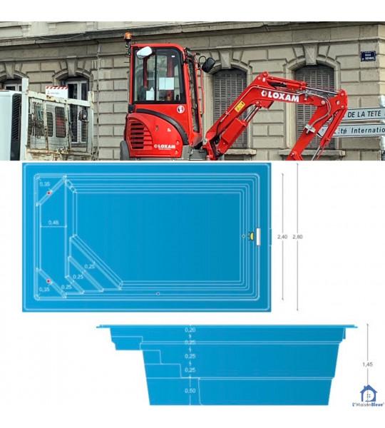 (01600) Mini piscine coque de 10M2 _ 4M20x2M40x1M45 _ TREVOUX