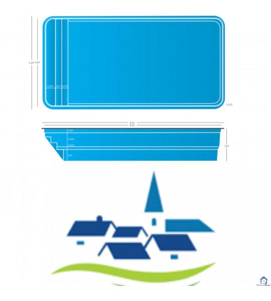 (81290) Labruguière - 8Mx4Mx1M50 piscine coque rectangulaire