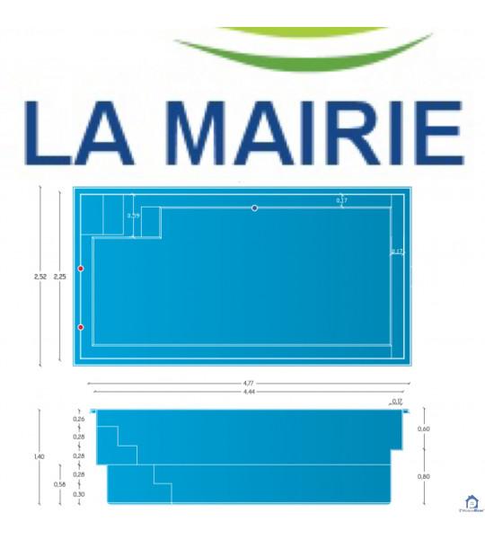 Piscine coque 4M44x2M25x1M45 Crépieux-la-pape (69140)