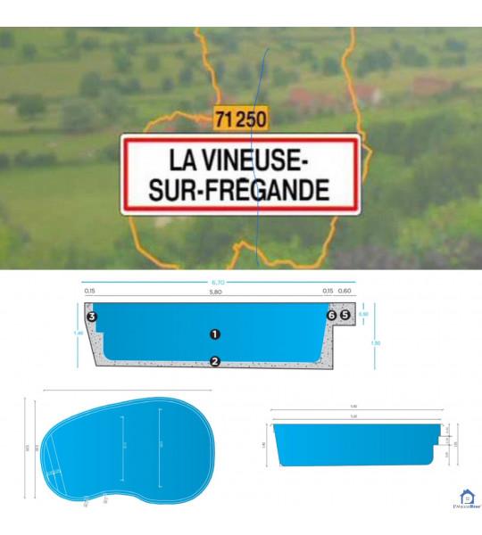 (71250 La Vineuse sur Fregande) Coque piscine 5M80x3M50x1M50 forme ovale
