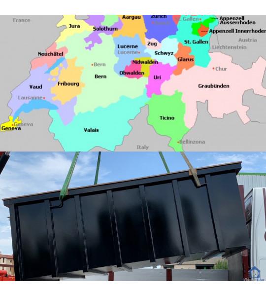 (5702) Niederlenz Schweiz Piscine Container acier 8M50x3M20x1M65