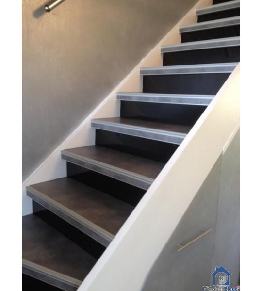 Rénovation escalier béton 13 marches forme droite, sur mesure