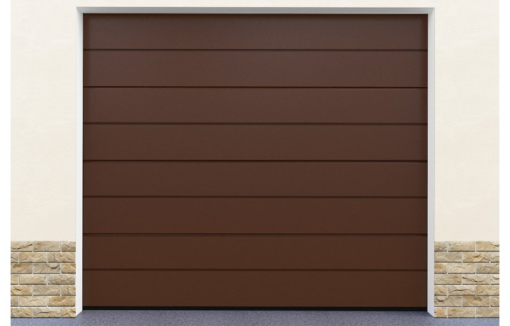 Porte garage sectionnelle coloris marron standard for Porte de garage sectionnelle pas cher