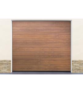 Installation porte de garage en kit coloris ton bois for Installation motorisation porte de garage sectionnelle