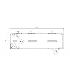 7M84x2M35 - Kit module habitat & bloc sanitaire intégré