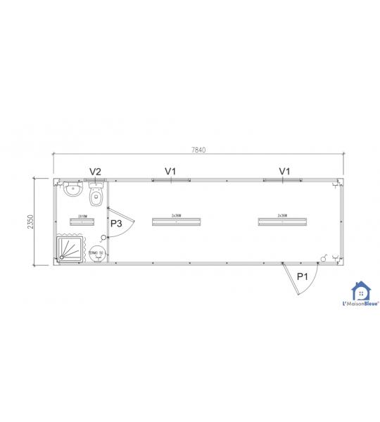 7M84x2M35 - Kit module habitat