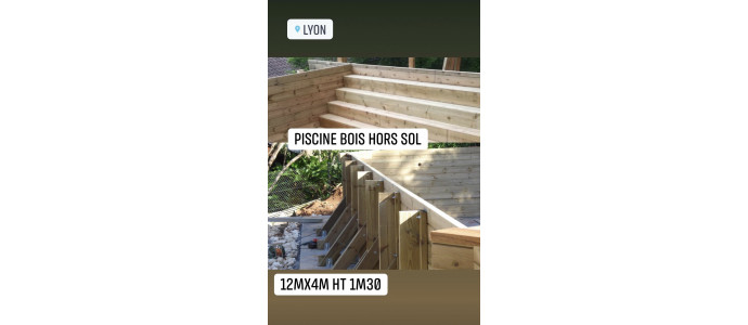 Kit piscine bois 12Mx4Mx1M30 rectangulaire